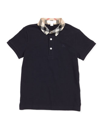 Check-Collar Polo, True Navy, 4Y-10Y
