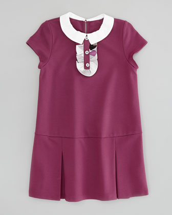 Girls' Drop-Waist Knit Dress, Dark Pink