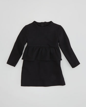 Long-Sleeve Peplum Dress, Black, Sizes 2-6