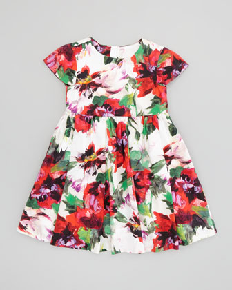 Bouquet Floral Cap Sleeve Dress, White/Multi, Sizes 8-10