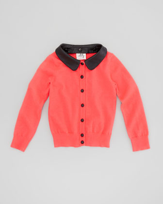 Removable Faux-Leather-Collar Cardigan, Melon, Sizes 8-10