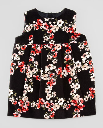 Infant Sleeveless Floral-Print Velvet Dress