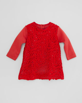 Long-Sleeve Macrame Shirt Dress, Bordeaux, 3-18 Months
