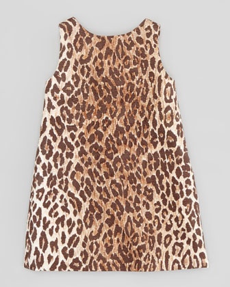 Leopard-Print Jacquard Shift Dress, Sizes 2-6