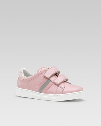 Ace Leather Sneaker with Web Detail, Pink