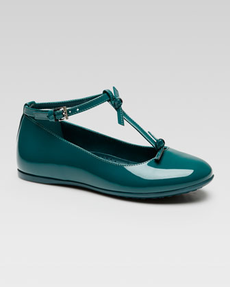 Beverly Patent T-Strap Shoe, Green
