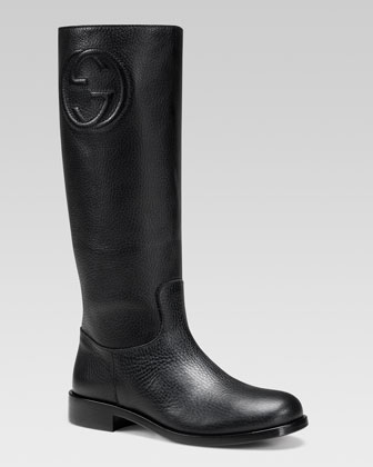 Soho Leather Tall Boot, Black