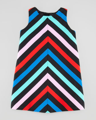 Sleeveless Striped-Twill Dress, Sizes 2-6