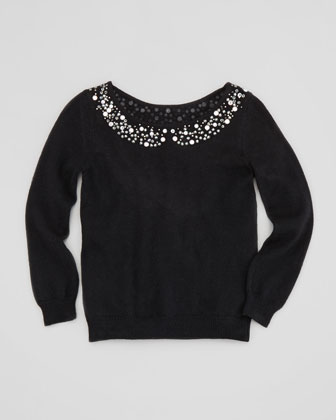 Rhinestone Collar Pullover Sweater, Black, Sizes 8-10