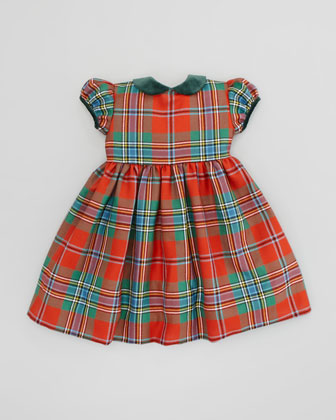 Gathered-Sleeve Plaid Dress, Red, 18M-2T