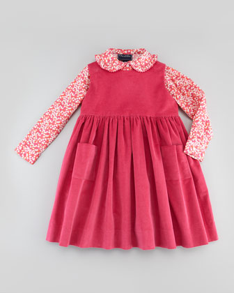 Baby Corduroy Pinafore Dress, Hot Pink, 18M-2Y