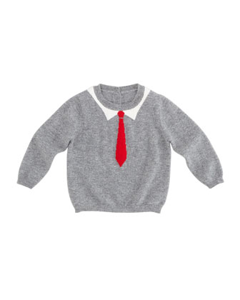 William Tie-Intarsia Cashmere Sweater, 6-24 Months