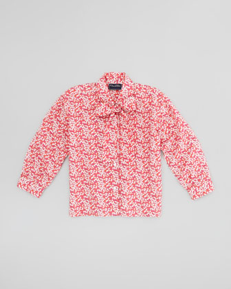 Girls' Multi-Use Floral-Print Blouse, Red, 4Y-10Y