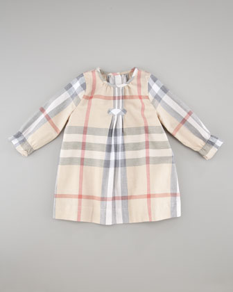 Check Pintuck Dress, Cream, 3-18 Months