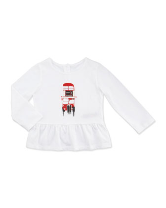 Double-Decker Bus Peplum Top, White, 12-18 Months