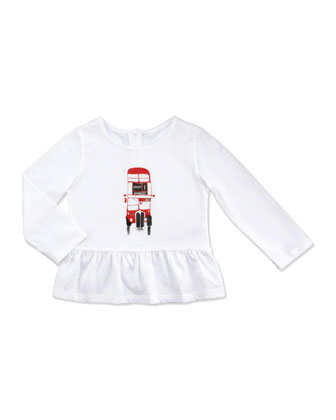 Double-Decker Bus Peplum Top, White, 2T-3T