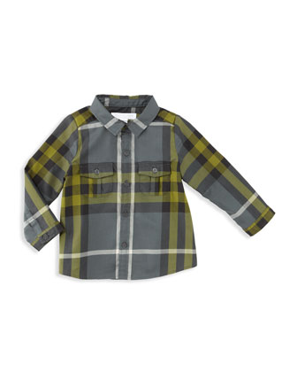 Boy's Check Shirt, Dark Gray, 12-18 Months