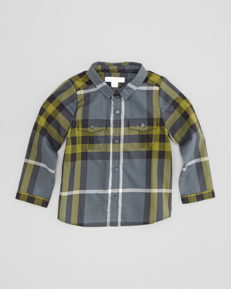 Infant Boys' Check Shirt, Dark Gray, 2T-3T