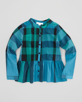 Girls' Pintucked Peplum Blouse, 4Y-10Y