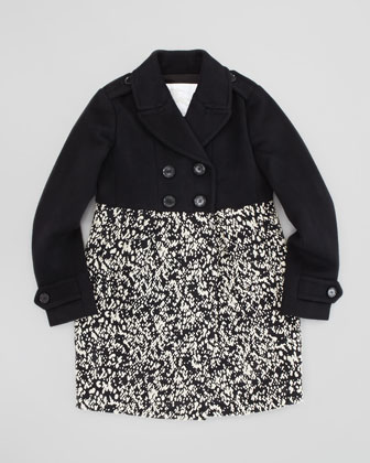 Girls' Double-Breasted Coat, Black, 4Y-10Y