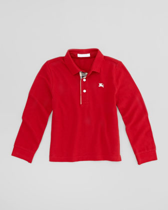 Pique Long-Sleeve Polo Shirt, Red, Sizes 4-10