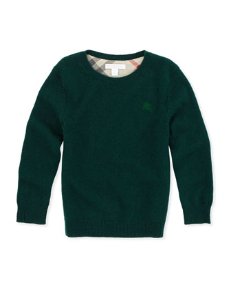 Check-Elbow-Patch Cashmere Sweater, Green, 4Y-10Y