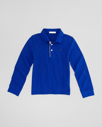 Pique Long-Sleeve Polo Shirt, Blue, Sizes 4-10