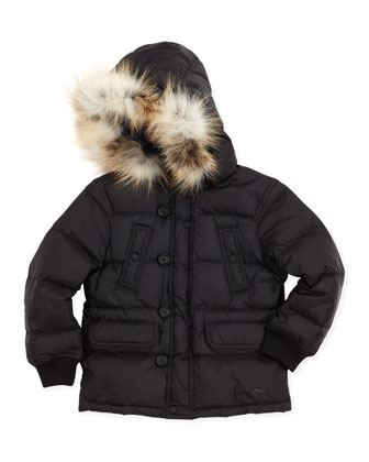 Fur-Hood Ski-Puffer Jacket, Black, 4-10