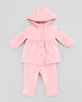 Jersey Snap-Button Hoodie & Pants Set, Pink