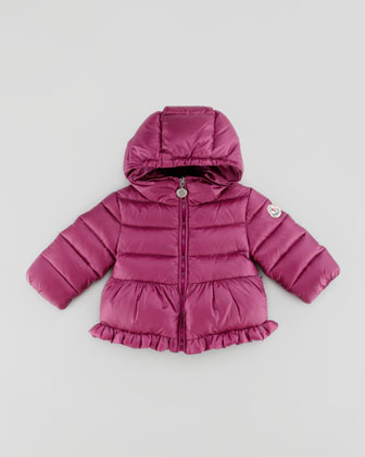 Odile Quilted Jacket with Ruffle, Raspberry, 18M-2T
