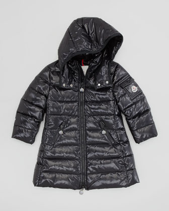 Girls' Long Moka Hooded Jacket, Black, Sizes 2-6