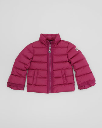 Quilted Jacket with Grosgrain Trim, Raspberry, Sizes 2-6