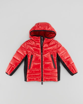 Hooded Quilted Jacket, Red, Sizes 2-6