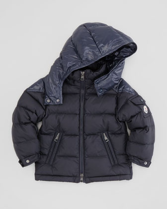 Quilted Puffer Jacket with Contrast Hood, Navy, Sizes 8-10