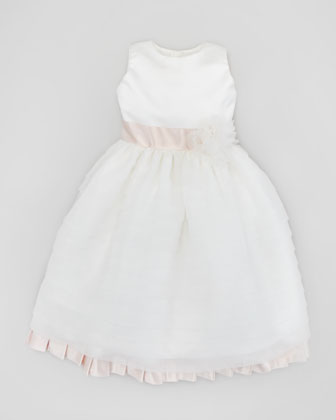 Organza & Satin Pleated Dress, Ivory/Light Pink, Sizes 2-10