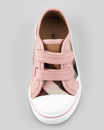 Check Double-Strap Sneaker, Pink, Toddler
