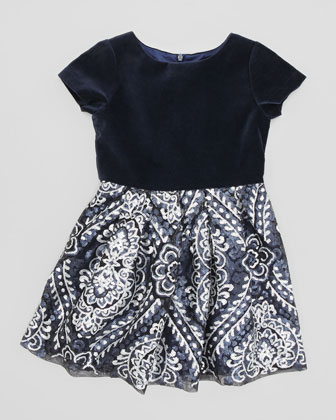 Velvet & Sequin Dress, Navy, Sizes 2-4