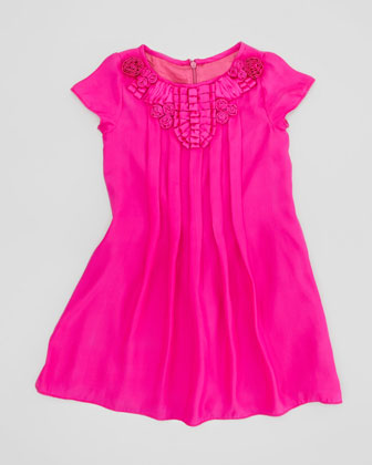 Pleated Silk Dress, Fuchsia, Sizes 2-4