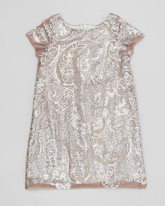Paisley-Sequin Shift Dress, Ivory, Sizes 5-8