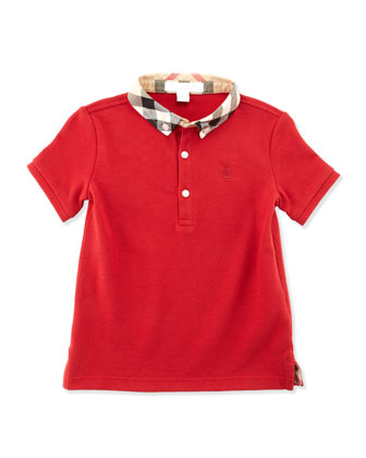 Check-Collar Short-Sleeve Polo, Red, 2T-3T