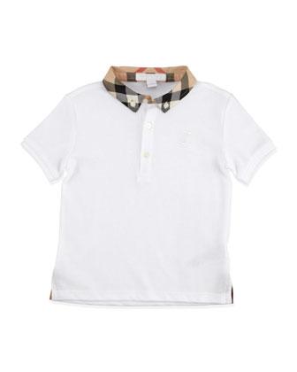 Check-Collar Polo, White, 2T-3T
