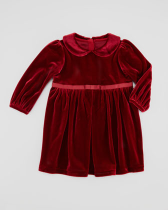 Knit Velvet Bow-Waist Dress, Red, 9-24M