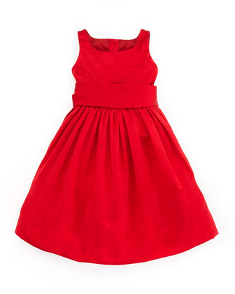 Satin Party Dress, Red, 2T-3T