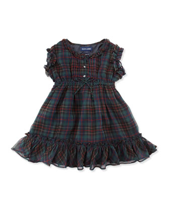 Tartan-Plaid Ruffle Chiffon Dress, Navy, 2T-3T