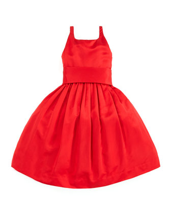 Satin Party Dress, Red, Sizes 4-6X
