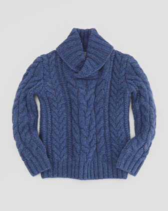 Aran-Knit Shawl-Collar Sweater, Blue, Sizes 2T-3T