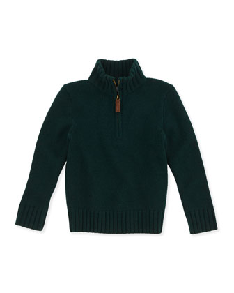 Half-Zip Cashmere Pullover, Green, Sizes 4-7