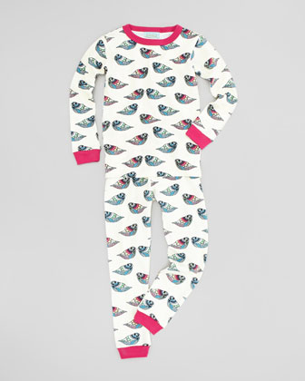 Pearl Jewel Bird Pajamas, Turquoise, Sizes 2-8