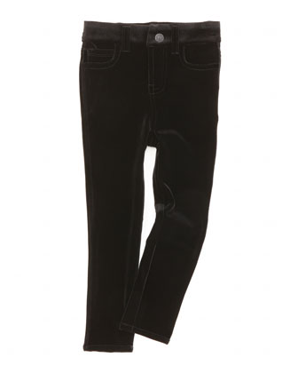 The Skinny Velveteen Jeans, Black, Sizes 8-10
