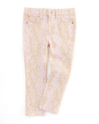 The Skinny Snake Jeans, Pink/Gold, Sizes 4-6X
